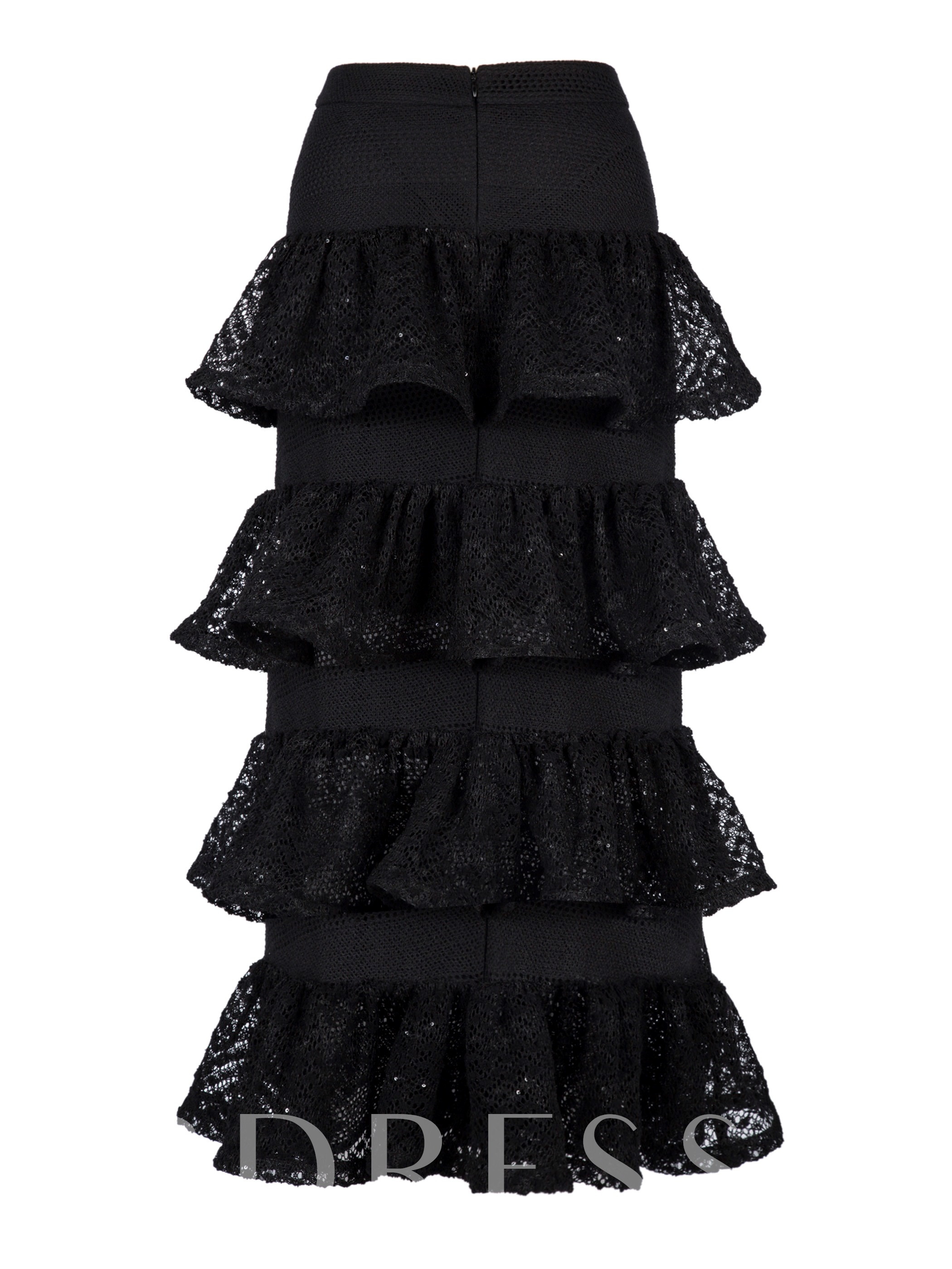 Image of A-Line Mid-Calf Layered Womens Skirt