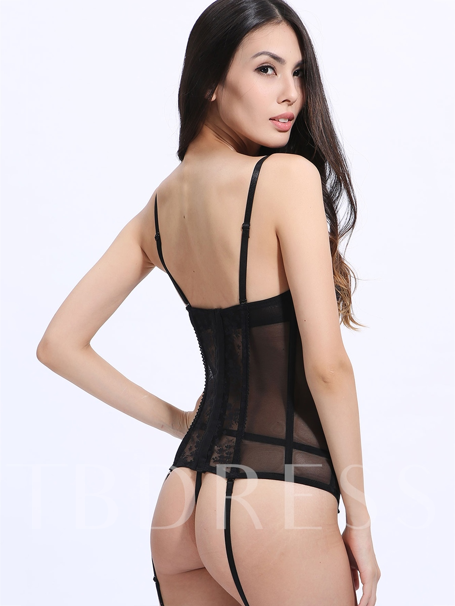Black Lace-Up Spaghetti Strap Sexy Costume