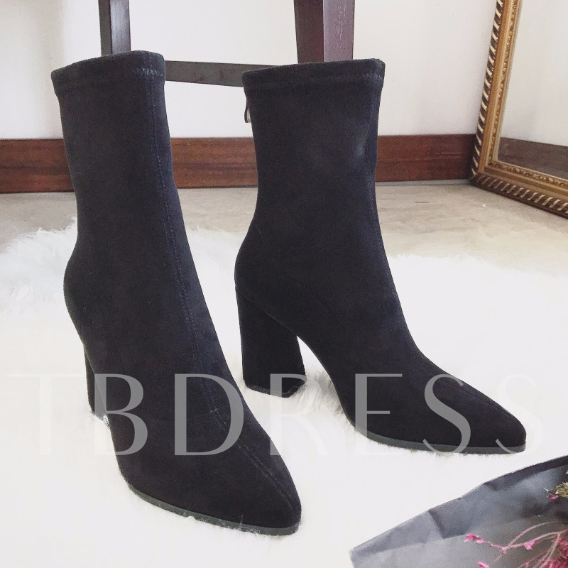 Chunky Heel Boots Back Zip Suede Women's Casual Shoes