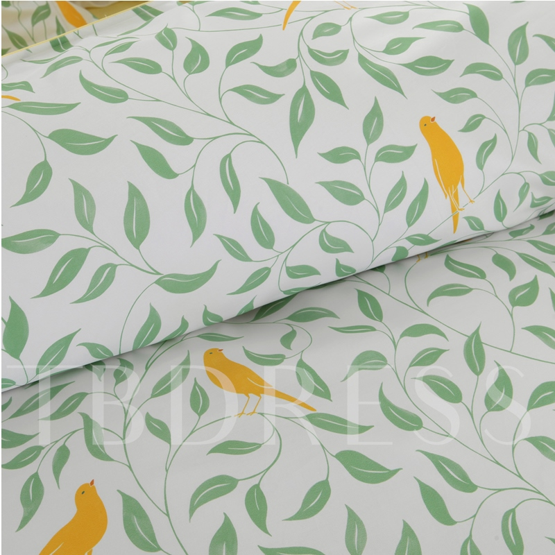 Floral Plant Plain 4pcs Bedding Sets
