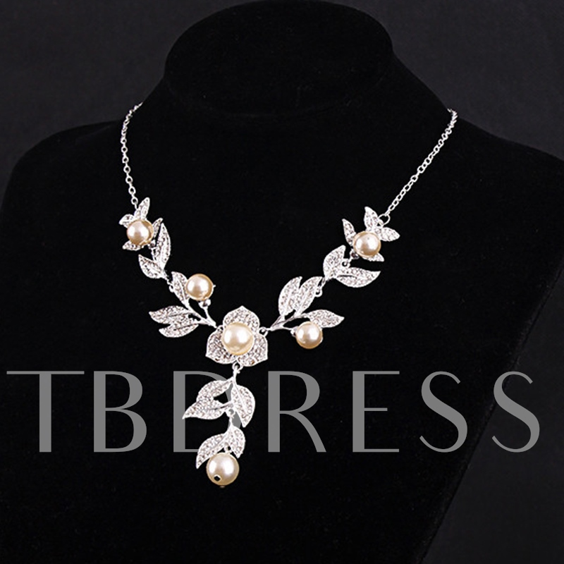 Pearl Inlaid Leaf Diamante Alloy Jewelry Sets