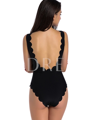 U-Neck Wave-Cut Backless One Piece Swimsuit
