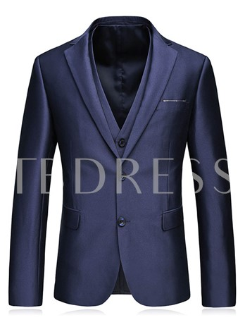 Notched Collar Double Button Solid Color Casual Slim Men's Dress Suit