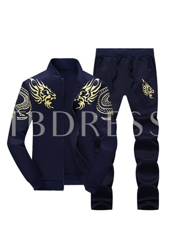 Stand Collar Embroidery Printed Plain Slim Fit Men's Sports Suit