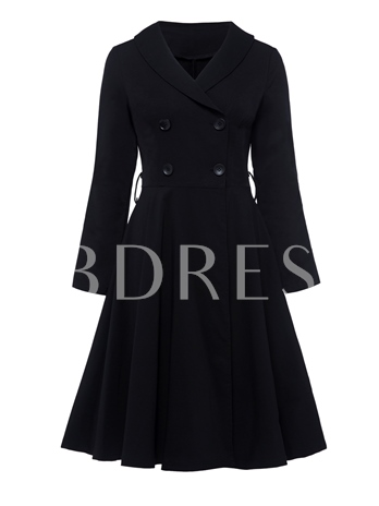 Black Double-Breasted Women's Day Dress