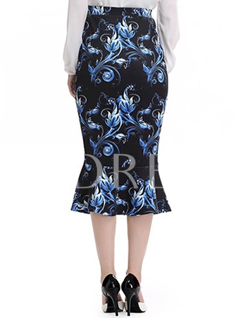 Slim Print High-Waist Women's Fishtail Skirt