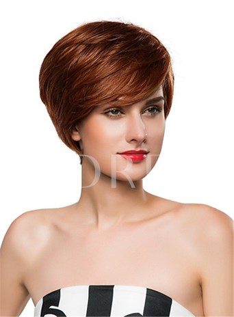 Straight Short Side Part Human Hair Capless Wig 10 Inches