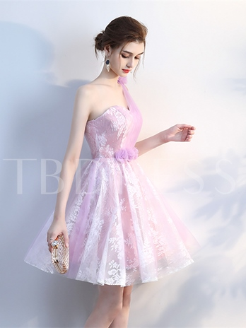 A-Line Flowers Lace Pleats One-Shoulder Knee-Length Homecoming Dress