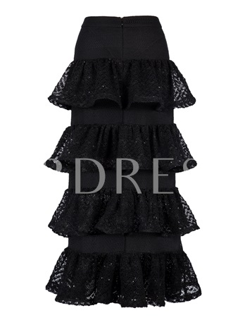 A-Line Mid-Calf Layered Women's Skirt
