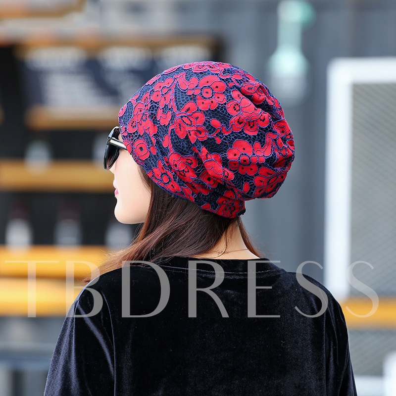 Thin Lace Cotton Flower Printing Skullies & Beanies Hats