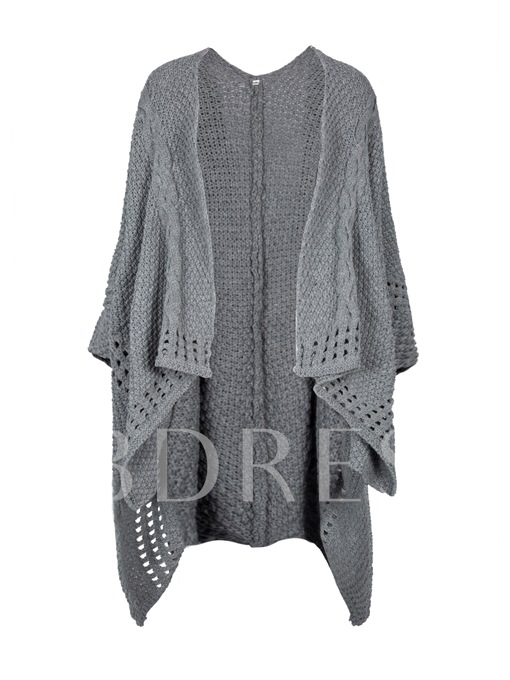 Hollow Plain Asymmetric Women's Cardigan