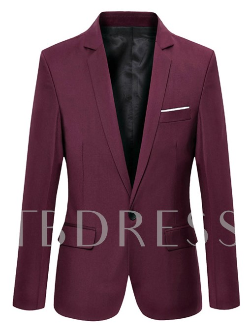 Notched Collar One Button Solid Color Plain Men's Casual Blazer