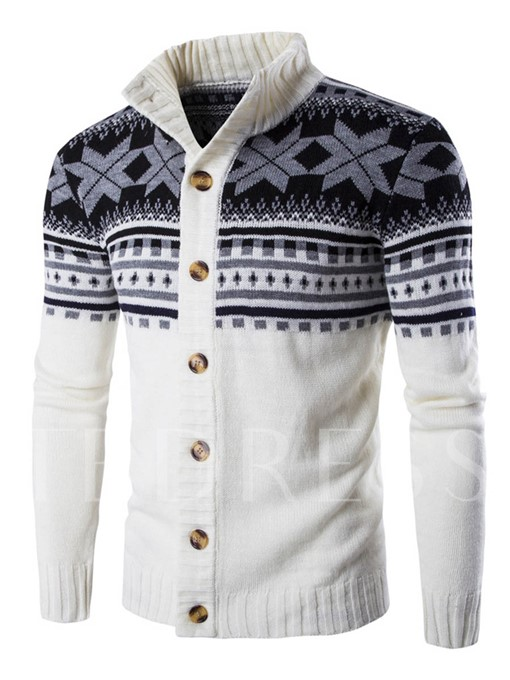 Ugly Christmas Stand Collar Ethnic Printed Slim Men's Cardigan Sweater