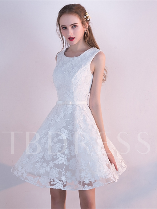 A-Line Bowknot Lace Sashes Short Homecoming Dress