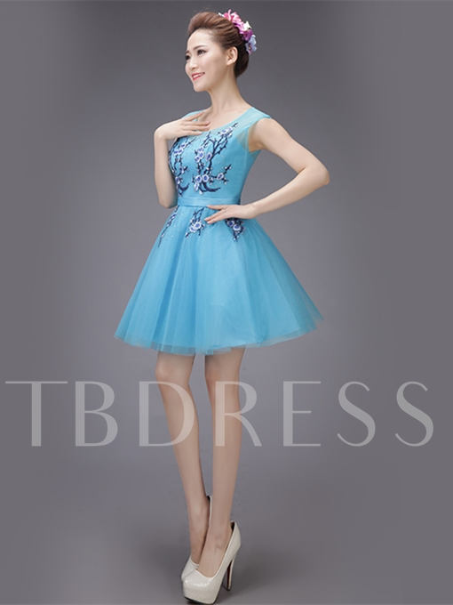A-Line Cap Sleeves Appliques Sashes Scoop Mini Homecoming Dress