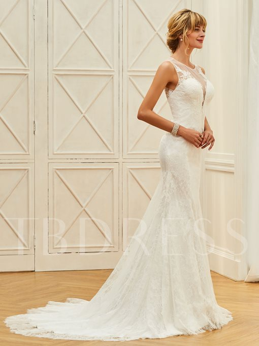 Straps Appliques Button Lace Mermaid Wedding Dress