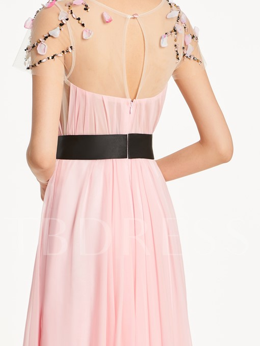 Short Sleeves Scoop Neck Beading A-Line Bridesmaid Dress