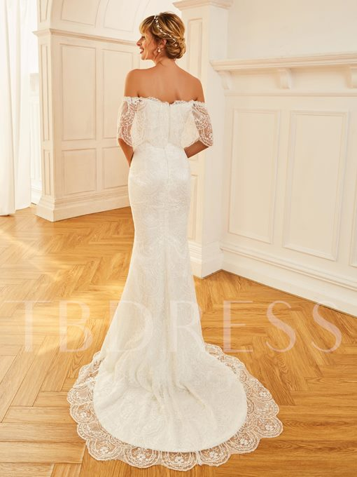 Off the Shoulder Lace Mermaid Wedding Dress with Sleeve