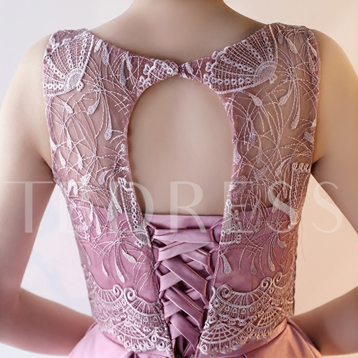 A-Line Scoop Bowknot Lace Sashes Knee-Length Homecoming Dress