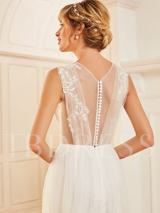 Tulle Top Appliques Button Back Wedding Dress