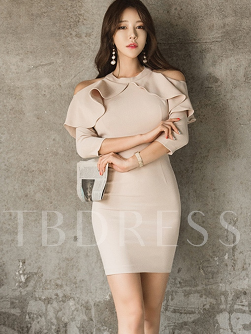 Khaki Cold Shoulder Women's Frill Dress