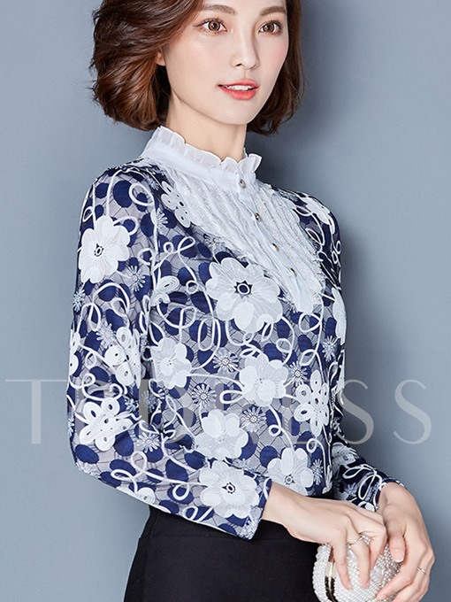 Floral Lace Patchwork Pullover Women's Blouse