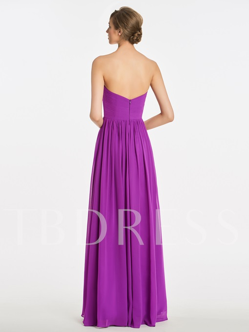 Sweetheart Pleats Zipper-Up A-Line Bridesmaid Dress