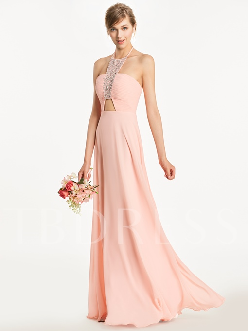 Halter Beading Ruched A-Line Bridesmaid Dress