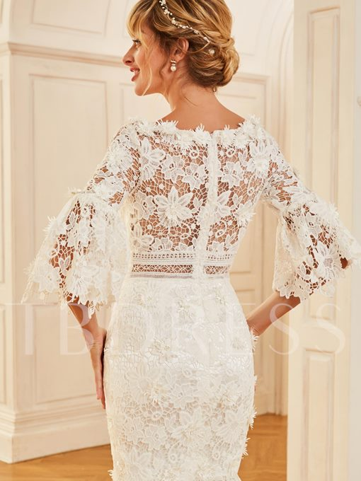 Sleeves Lace Beach Wedding Dress with Sleeves