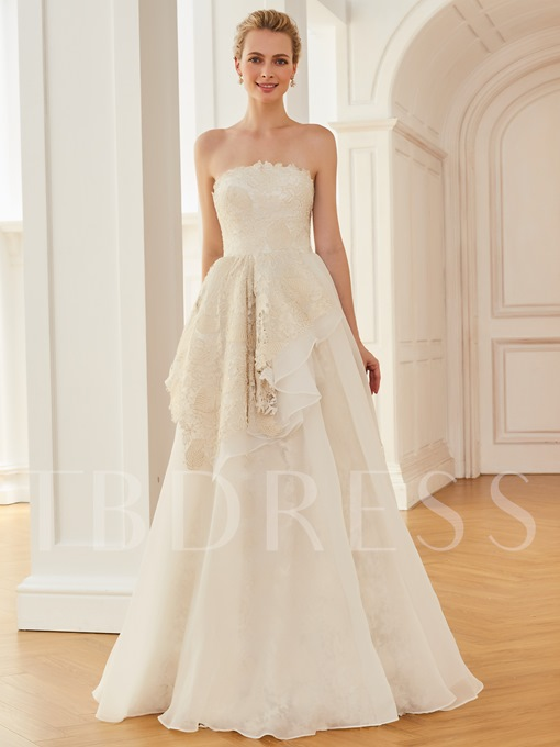Strapless A Line Lace Floor Length Wedding Dress