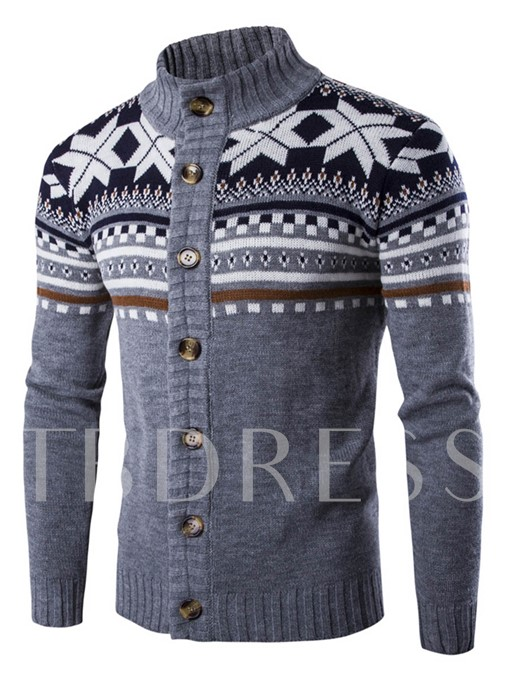 Stand Collar Ethnic Printed Single-Breasted Slim Fit Men's Cardigan Sweater