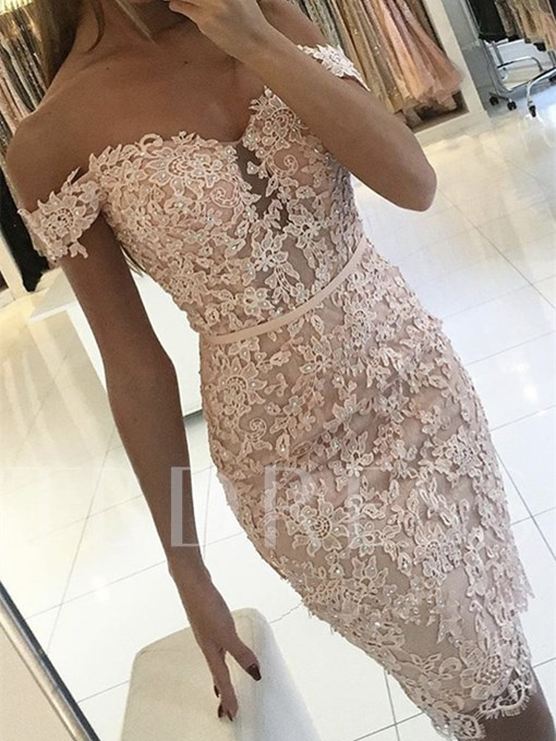 Sheath Appliques Beading Button Lace Off-the-Shoulder Knee-length Cocktail Dress
