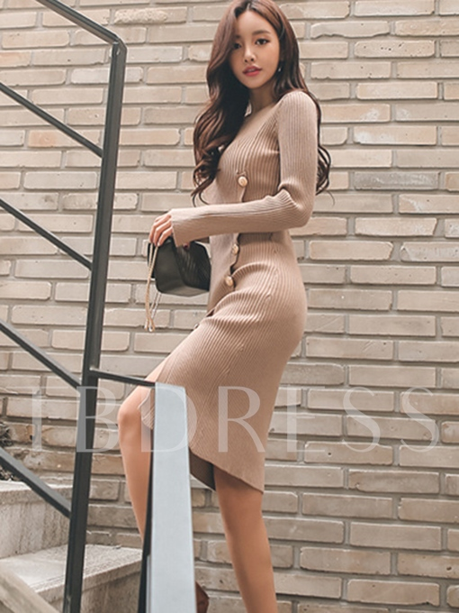 Long Sleeve Buttons Women's Sweater Dress