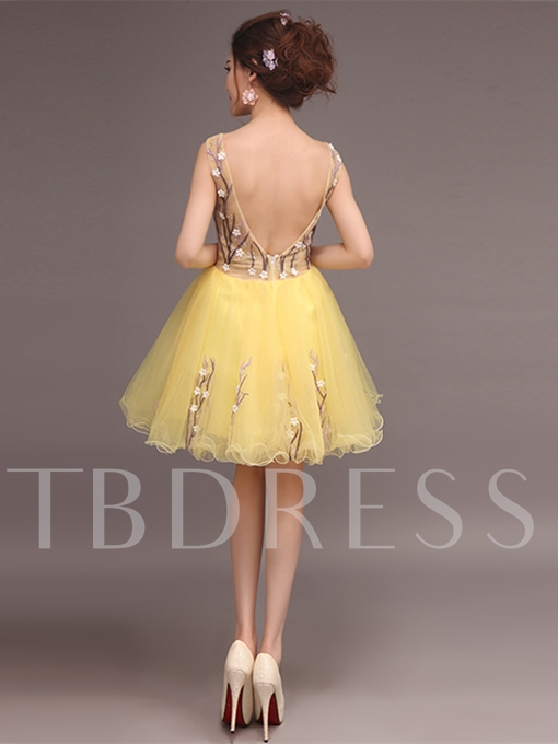 Ball Gown Appliques Backless Scoop Knee-Length Homecoming Dress