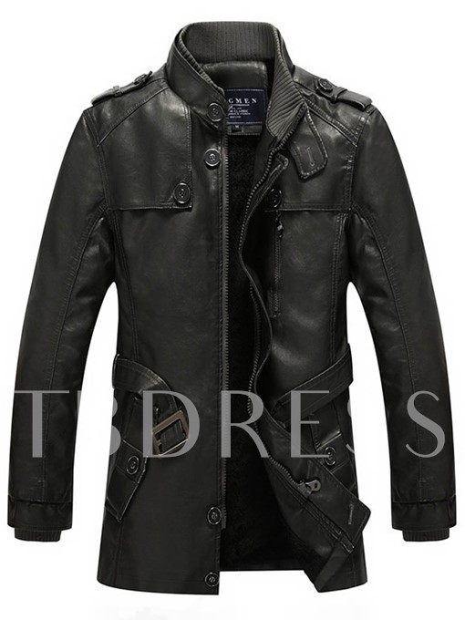 Stand Collar Waistband Zipper Thicken Warm Loose Men's Winter Jacket