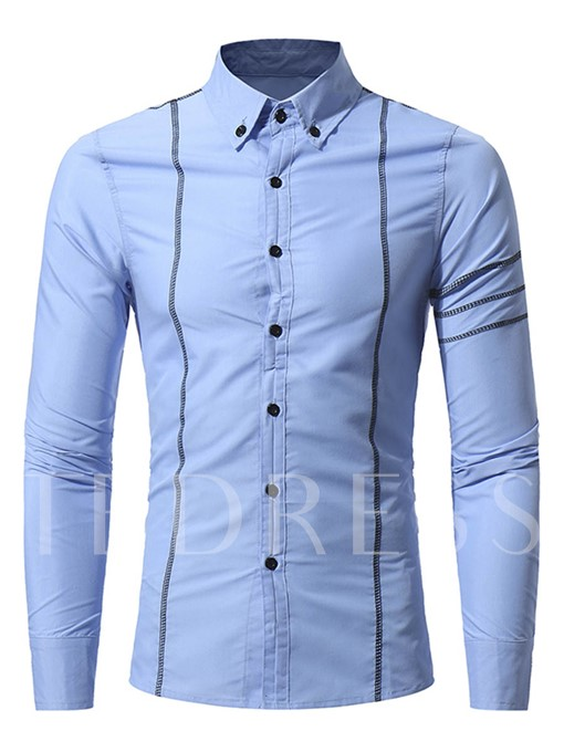 Lapel Stripe Printed Plain Slim Fit Men's Button Shirt