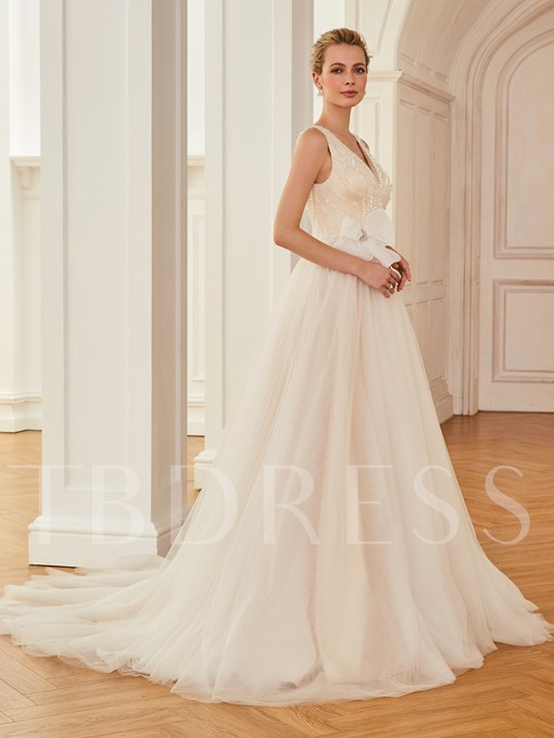 V-Neck Straps Sequins Bowknot Wedding Dress