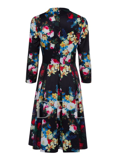 Black 3/4 Sleeve Floral Printed Women's Day Dress