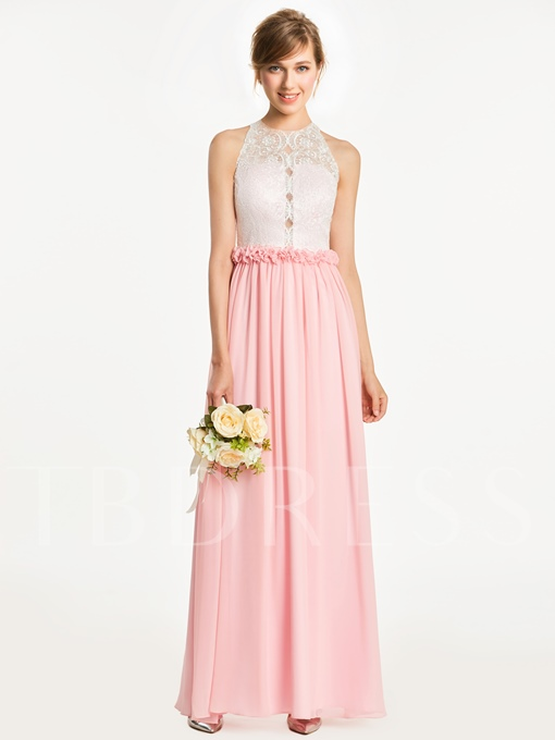 Scoop Neck Lace A-Line Floor-Length Bridesmaid Dress
