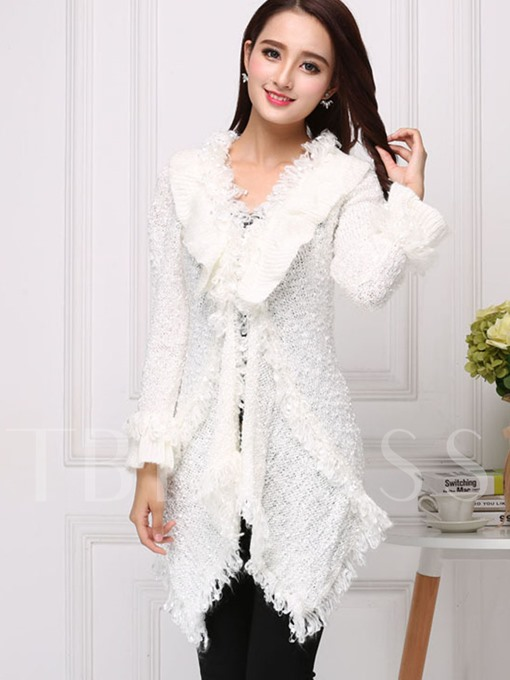 Asymmetric Long Tassel Women's Cardigan