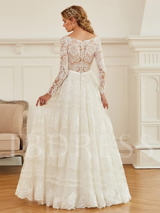 V-Neck Lace Long Sleeves Button Wedding Dress