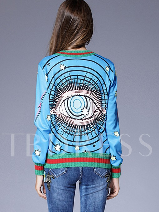 Eye Pattern Patchwork Pullover Women's Sweater