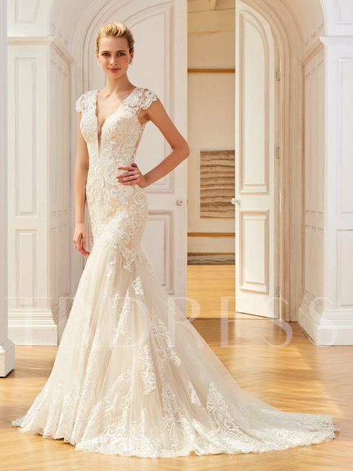 Cap Sleeve Appliques Mermaid Lace Wedding Dress