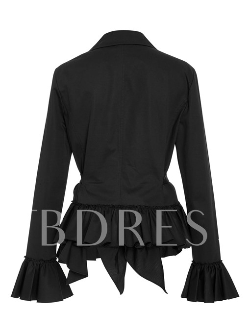 Flare Sleeve Falbala Hemline Lace-up Women's Blazer