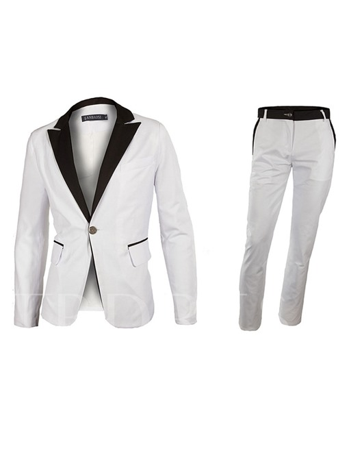 Notched Collar One Button Patchwork Slim Fit Casual Men's Suit