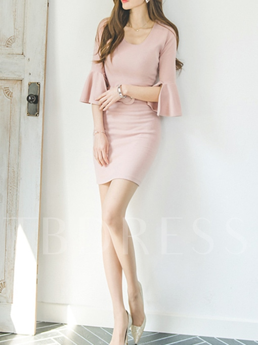 Bell Sleeve Pink Women's Sheath Dress