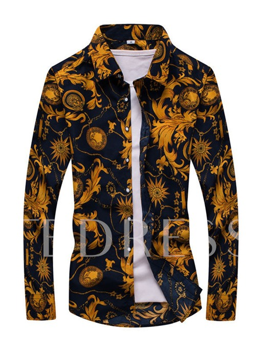Lapel Floral Printed Thin Slim Fit Long Sleeve Men's Button Shirt