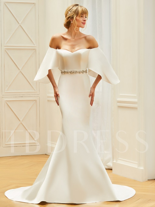 Sweetheart Beading Sash Mermaid Wedding Dress