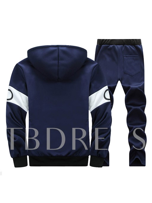 Hooded Thicken Warm Patchwork Letter Printed Slim Fit Men's Sports Suit