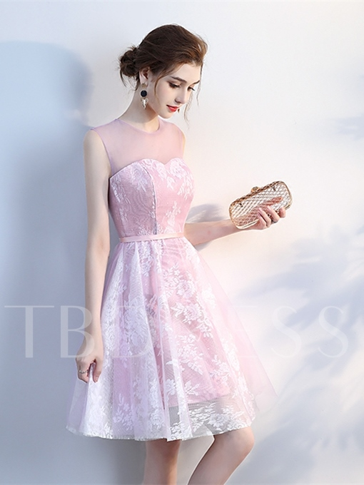 Sashes A-Line Scoop Lace Knee-Length Homecoming Dress